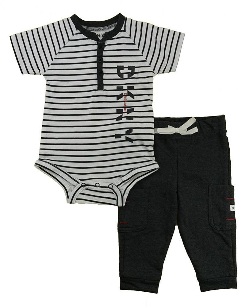DKNY Infant Boys Black Heather 2pc Pant Set Size 0//3M 3//6M 6//9M $3