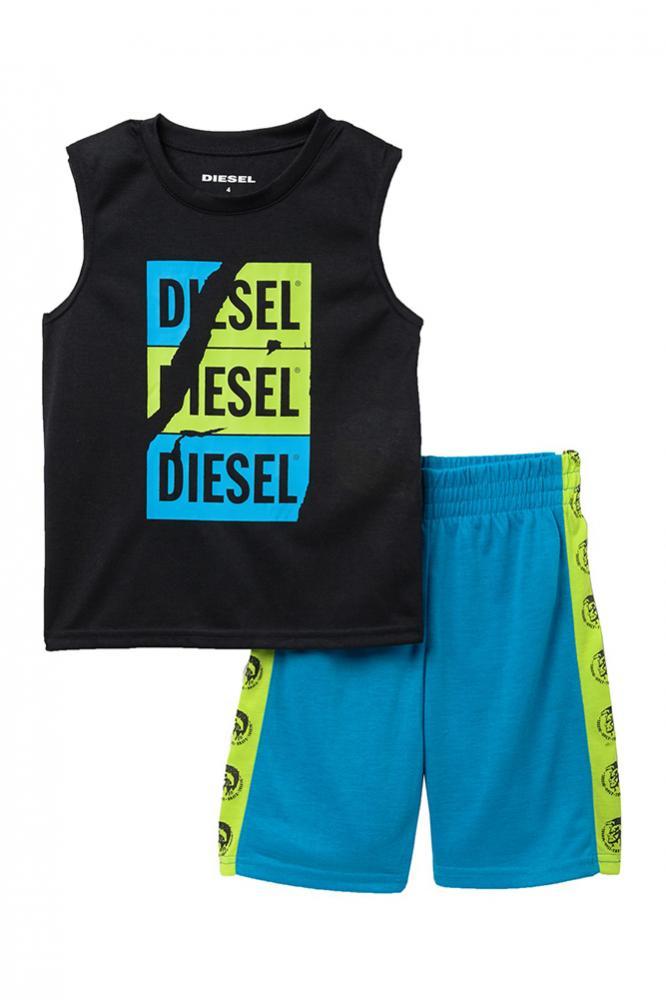 cf2cddf82 Diesel Boys Black   Multi 2pc Pajama Short Set Size 4 5 6 7 8 10 12 14 16