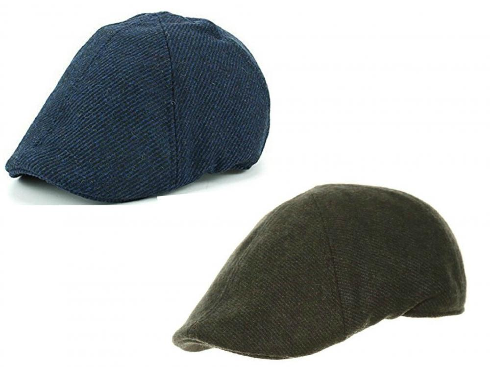 Mens Wool 6 Panel Preformed Shaped Peak Classic Style Flat Cap 2 Colours 3  Sizes 6921f330b28