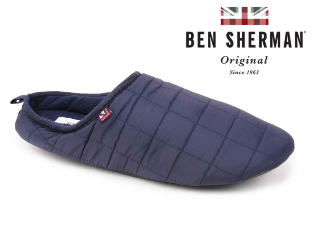 Mens British Designed Navy Warm Quilted Padded Duvet Outdoor Sole Slippers Mules