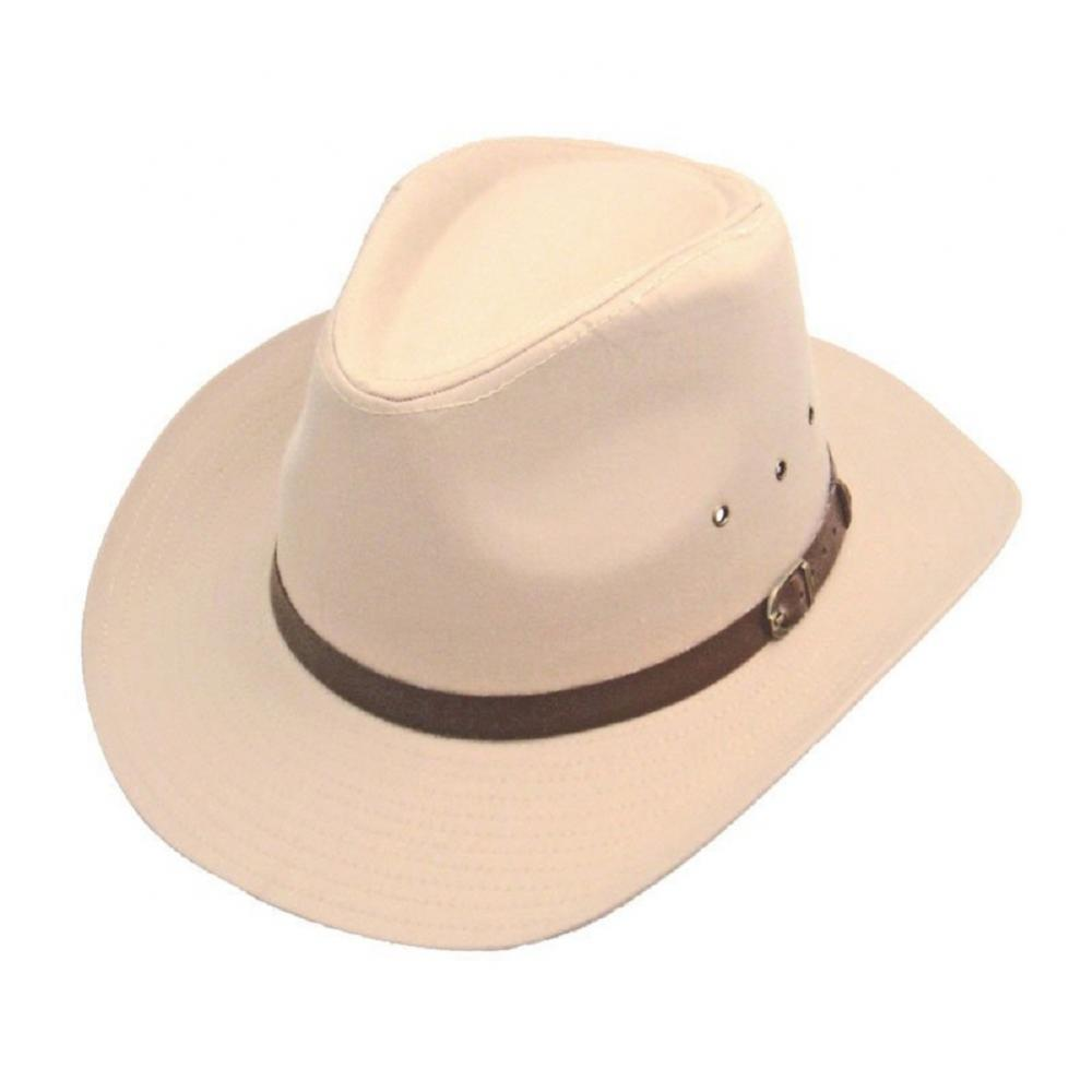 Wide Brim Stetson Hat With Faux Leather Band 100/% Cotton 2 Colours One Size 56cm