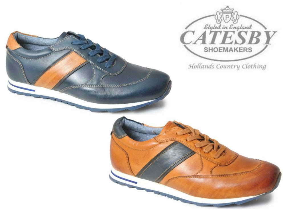 Catesby Casual Leather Trainers Mens Shoes in Navy Tan 7 8 9 10 11 12