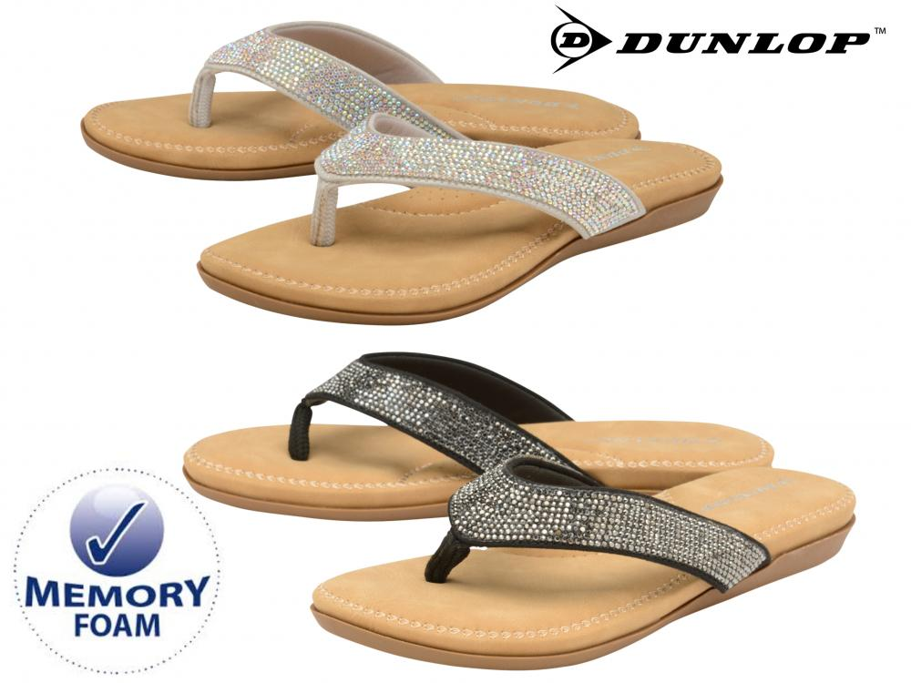 6a4f7769da7a Ladies Summer Flip Flops Diamante Memory Foam Holiday Beach Toe Post Sandals