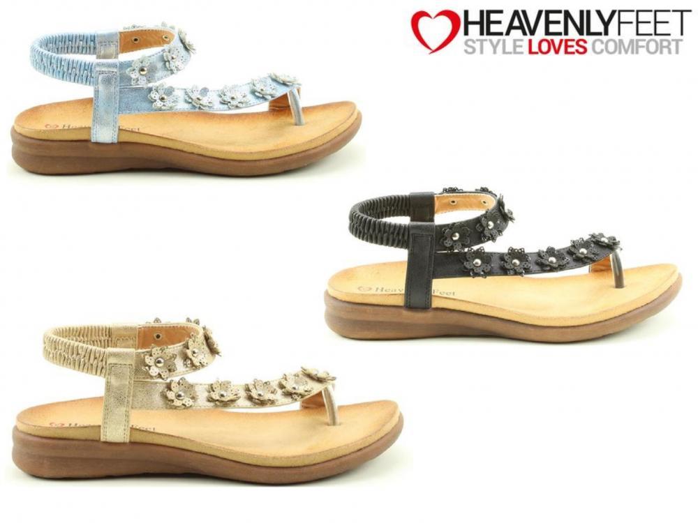 Ladies Sandals Summer Comfort Floral Stylish Lightweight Elastic Cushioned Sole