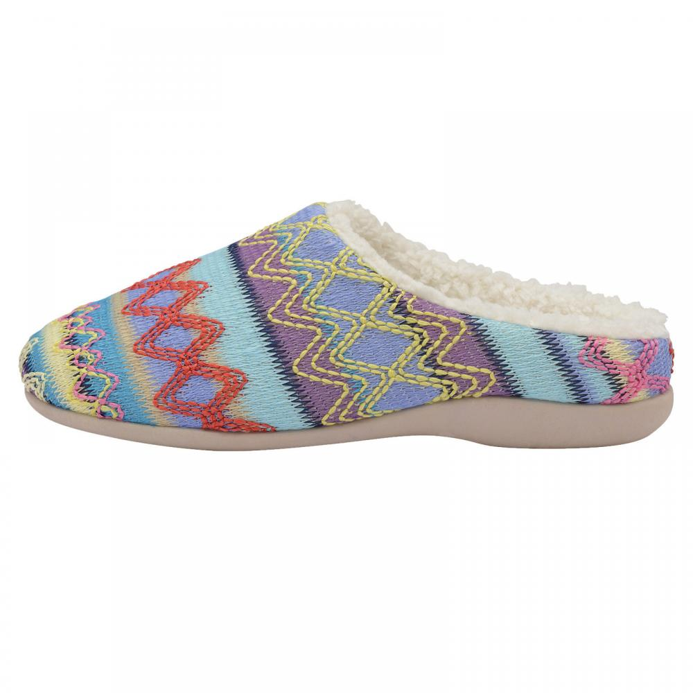 Ladies Dunlop Slippers Women Tapestry Fairisle Warm Polar Fleece Fur Mules Shoes