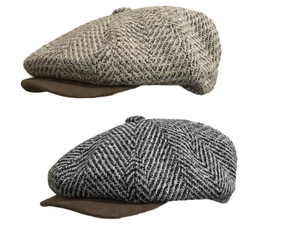 Gents Mens Ladies Tweed Check Flat Cap Pre Formed Peak Grey Or Brown Wool Mix