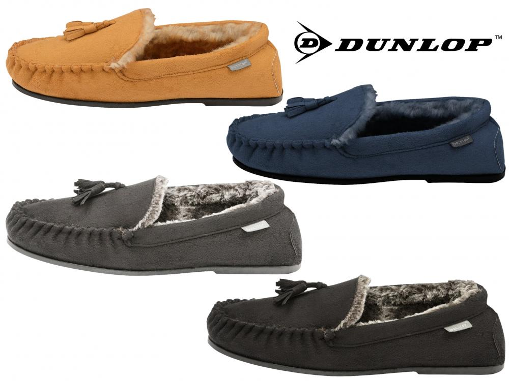 Dunlop Mens Duke Moccasin Slippers Loafers Faux Suede Soft Faux Fur Lining with Outdoor Sole