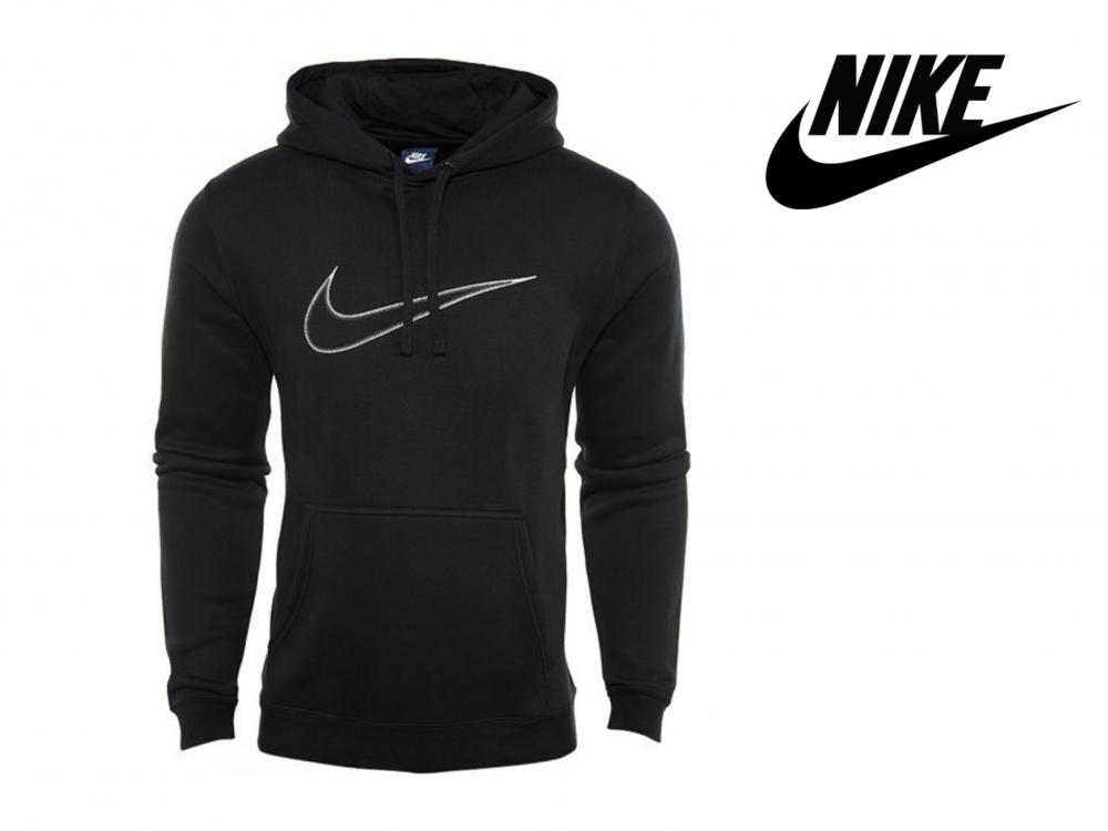 Details about Mens Nike Logo Hoodie Hoody Swoosh Tick Fleece Pullover Sweatshirt  Jumper Black 4bf4ccadc3a6