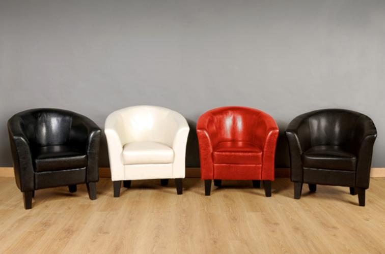 CLEARANCE SALE   Faux Leather Tub Chair Armchair With A Choice Of 4 Colours