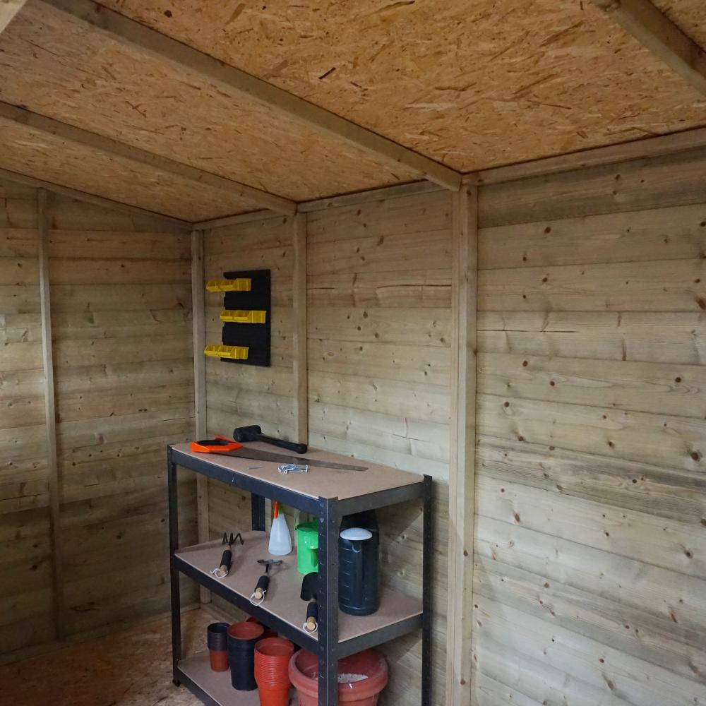Wooden pressure treated storage shed windows double door for T g osb