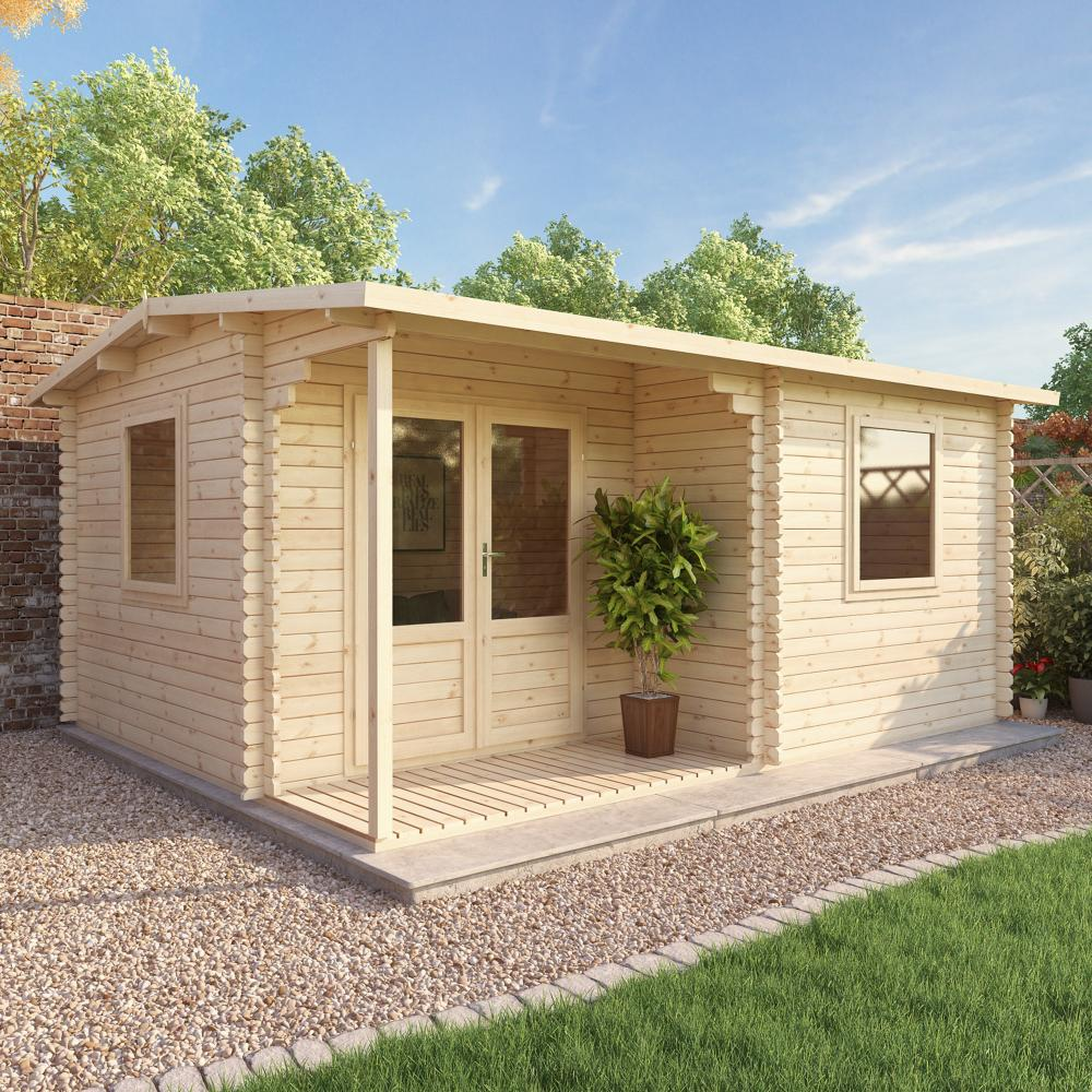 5m x 4m executive log cabin double door garden building for Garden shed 5 x 4