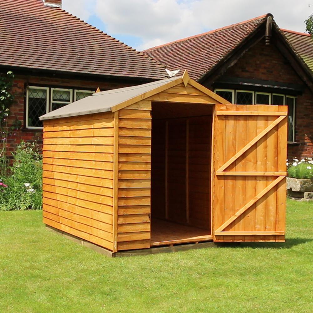 Garden Room Doors: 8x6 Wooden Overlap Garden Storage Shed Windowless Single