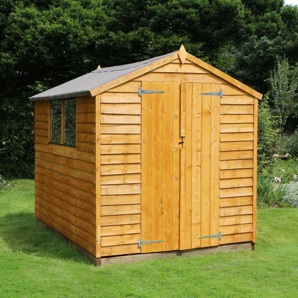 8x6 Wooden Overlap Garden Storage Shed Windows Double Door