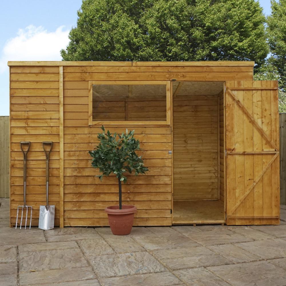 10x6 Wooden Overlap Garden Storage Shed Windows Single