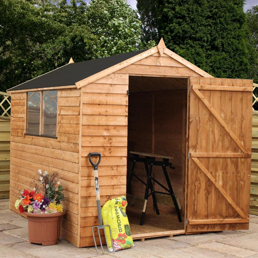 8x6 wooden overlap garden storage shed windows single door for Shed roofs