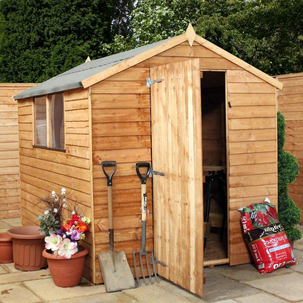 8x6 Wooden Overlap Garden Storage Shed Windows Single Door
