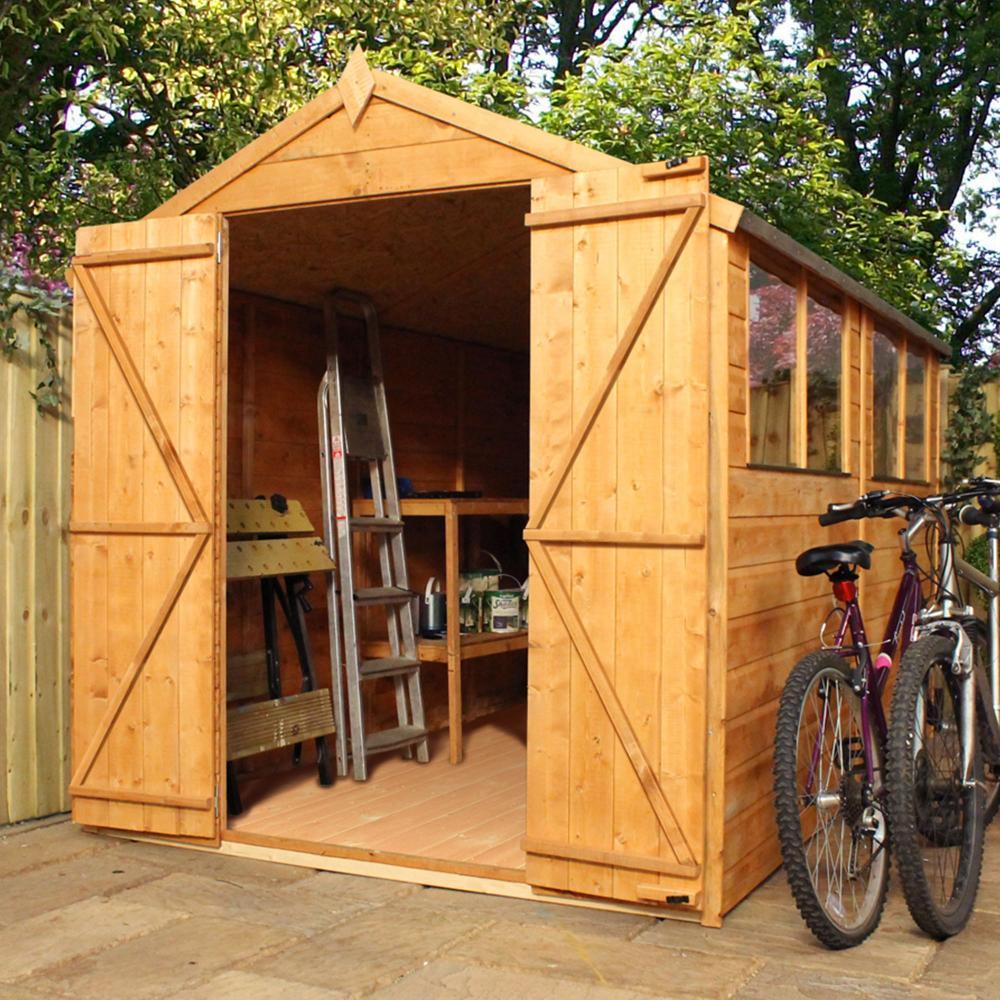 10x6 Wooden Shiplap Tradesman Storage Shed Windows Double