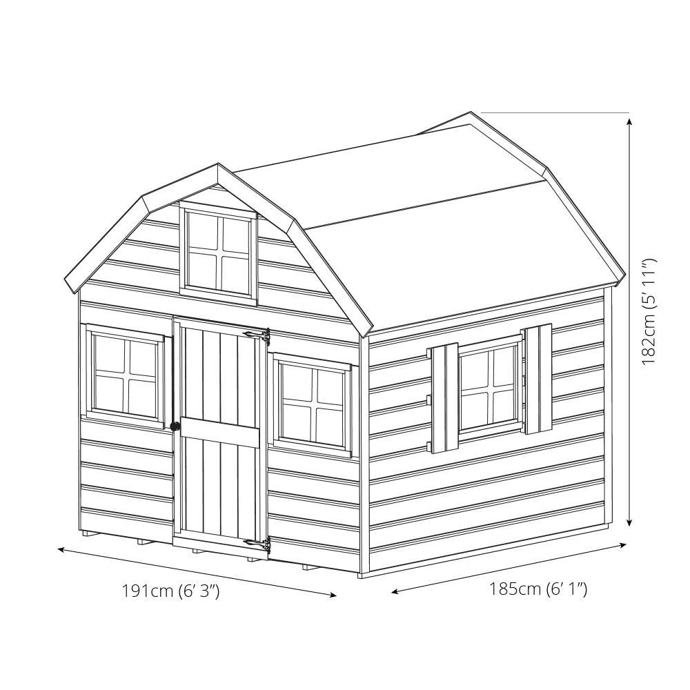 6x6 Wooden Children S Dutch Barn Outdoor Playhouse Shiplap