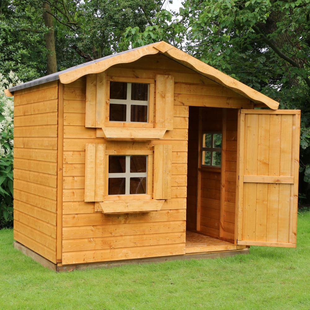 7x5 Wooden Children's Snowdrop Outdoor Playhouse Double ...