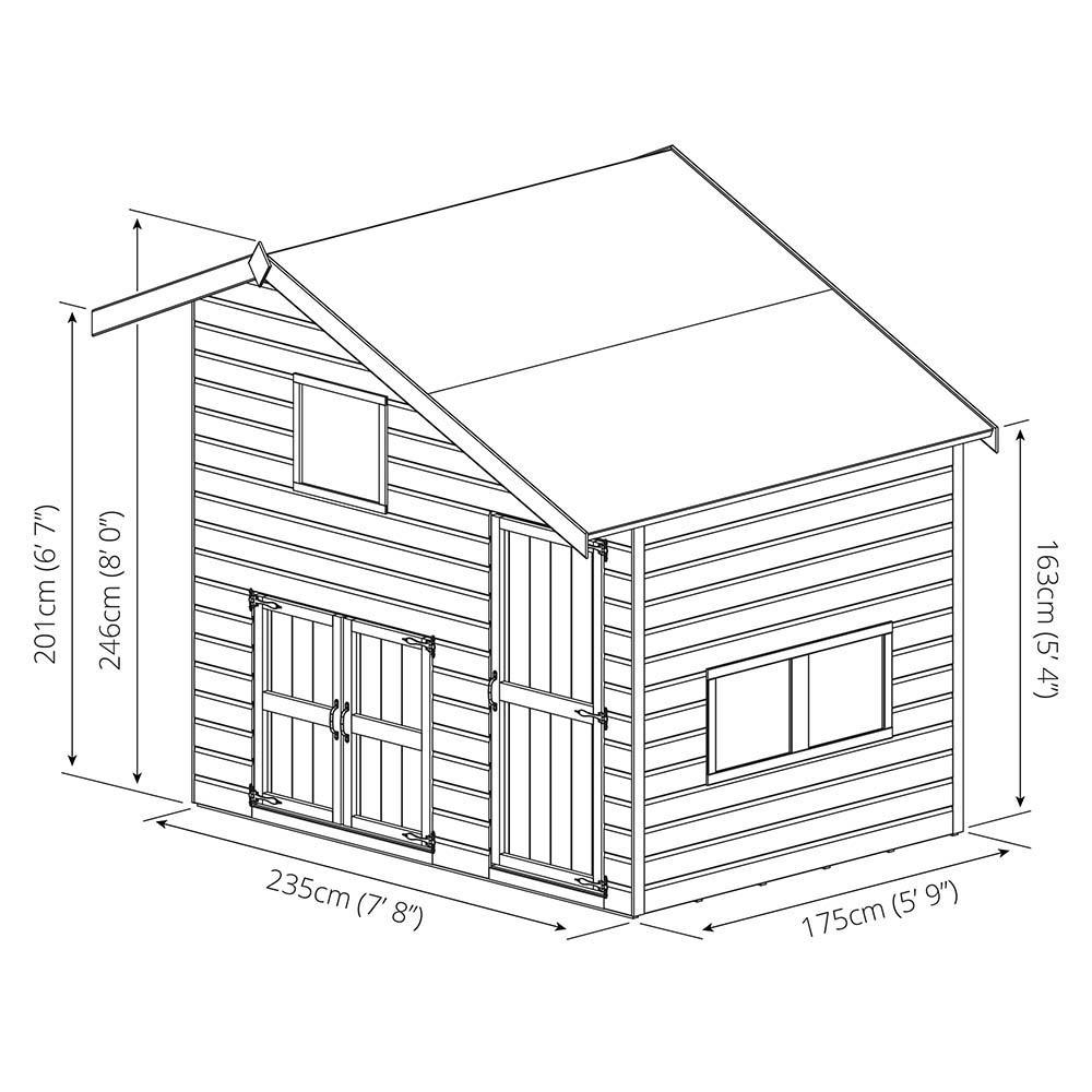 Double Storey Garage With Glass Doors: 8x6 Wooden Children's Garage Outdoor Playhouse Double