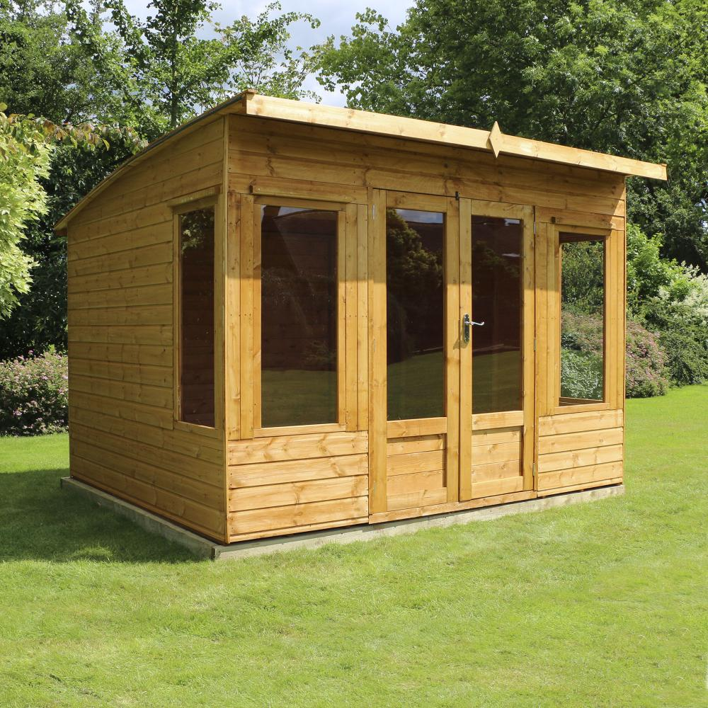 10x8 wooden helios summerhouse shiplap t g curved roof for T g roofing
