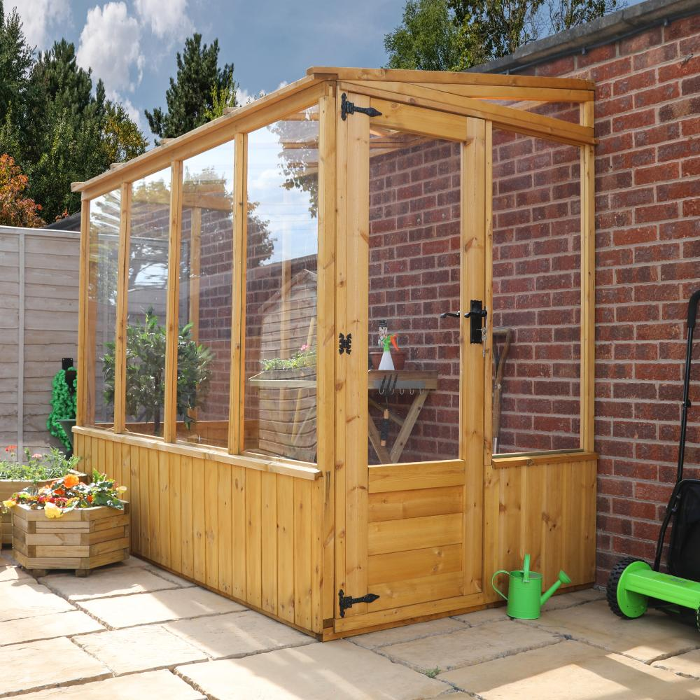 8x4 Wooden Lean-To Pent Greenhouse Styrene Windows Single