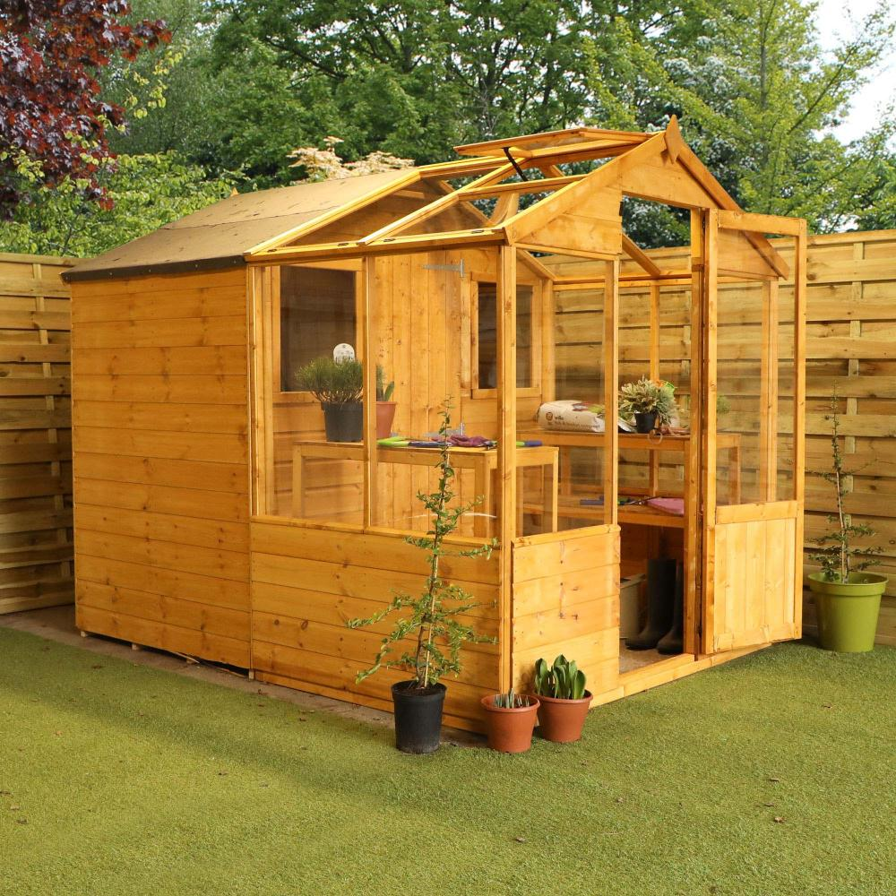 8x6 Wooden Shiplap Greenhouse With Storage Shed Combi