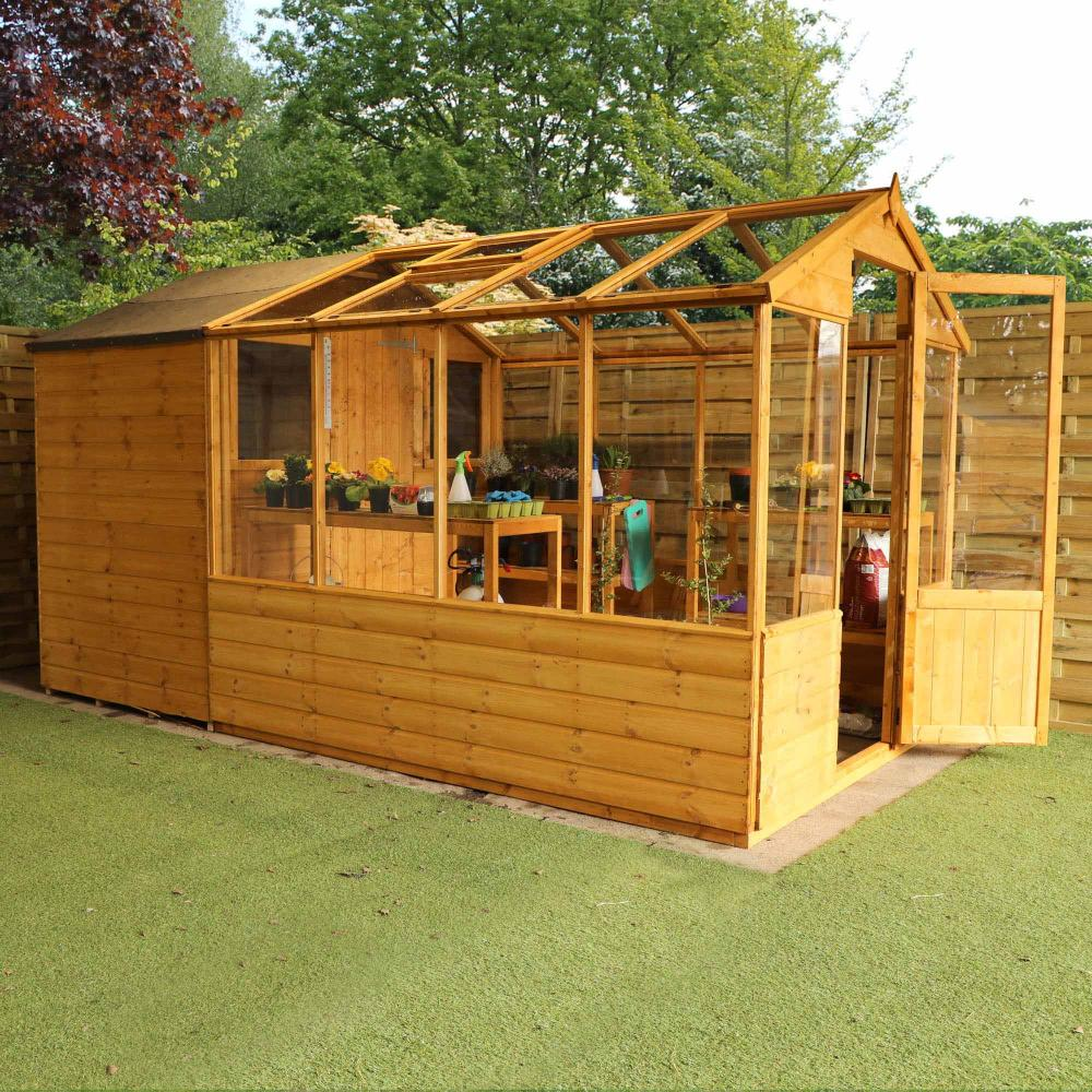 12x6 Wooden Shiplap Greenhouse With Storage Shed Combi