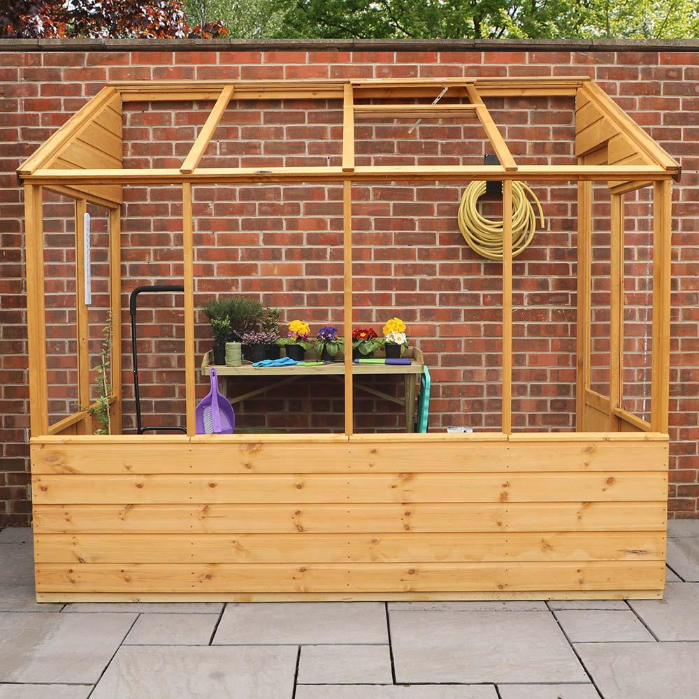 8x4 Wooden Evesham Lean To Pent Greenhouse Styrene Single