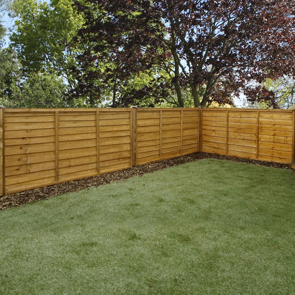 Wooden overlap lap dip treated fence panel fsc timber ft