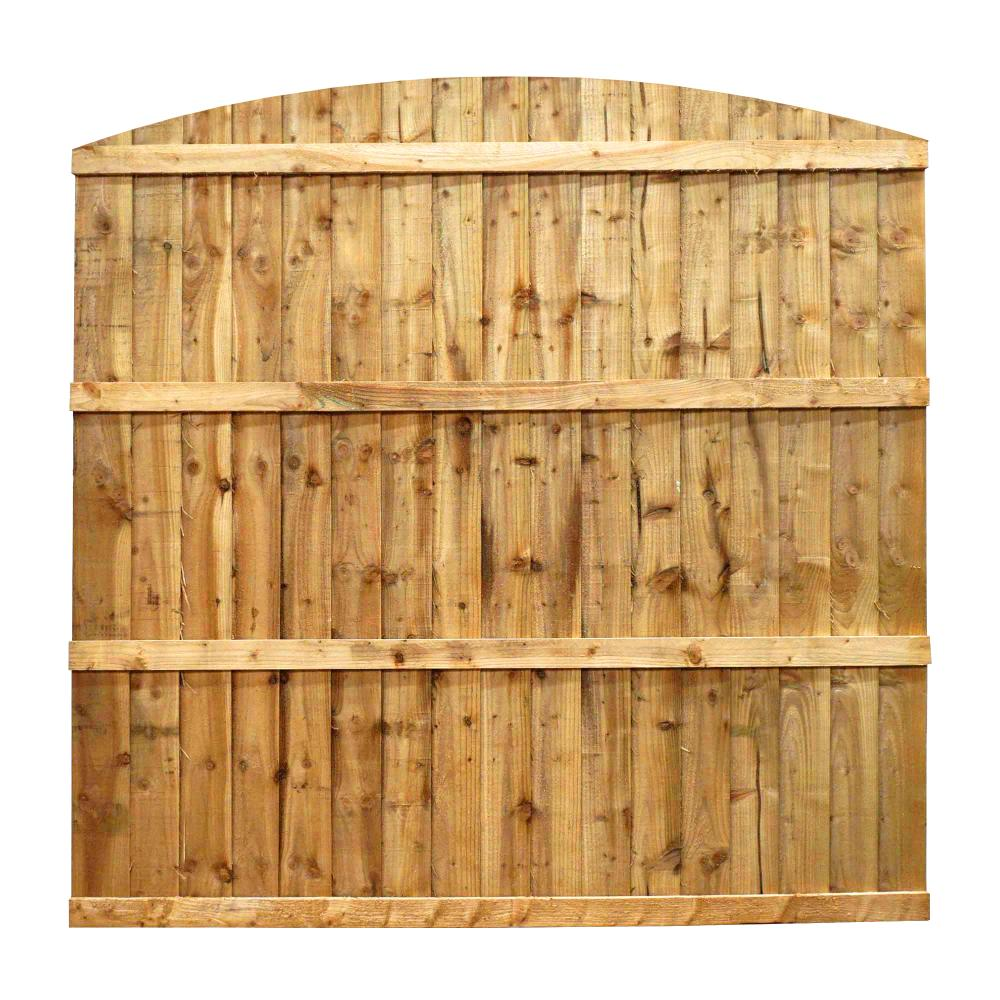 wooden vertical feather edge dip treated fence curved