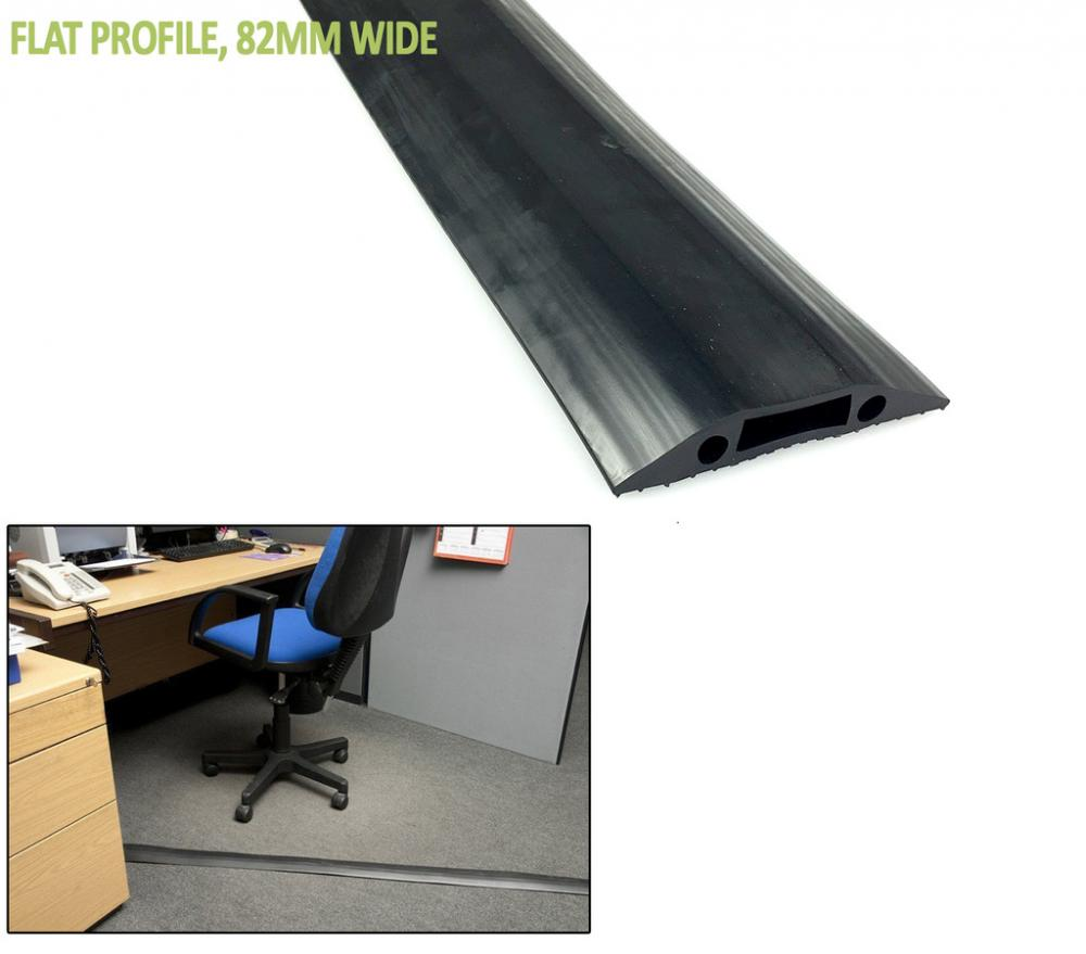 Black Heavy Duty Rubber Cable Tidy Floor Protector Trunking Cover ...