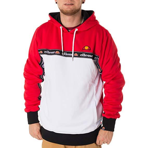87c1e6b4 Details about Ellesse Mens Overhead Hoodie Red White Medium Ottey