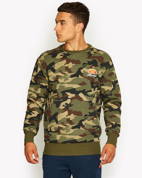 89385489fe Details about Ellesse Mens Sweatshirt Jumper Camo Logo Green Medium