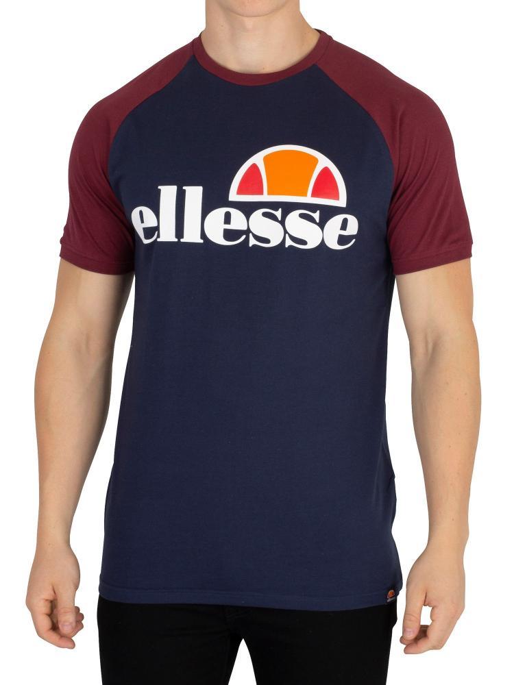 Detalles de Ellesse Para Hombre Camiseta LOGOTIPO Negrita Raglán Vestido Blues Borgoña medio ver título original