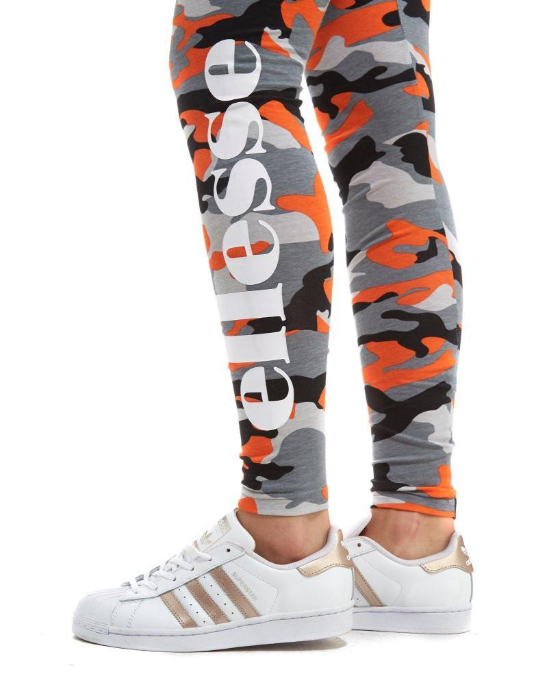 ellesse stretch leggings orange camo ebay