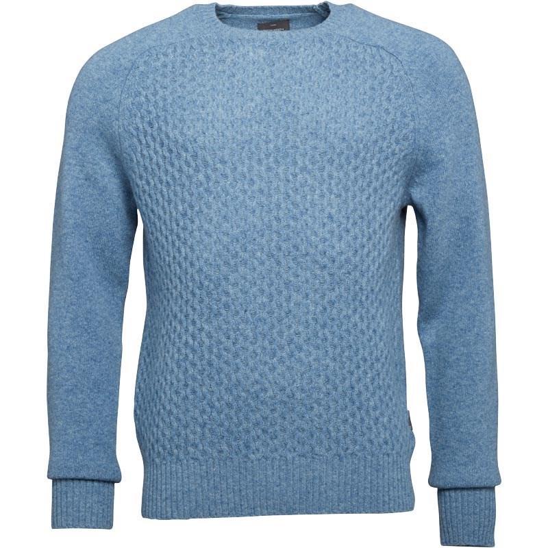 Peter Werth Mens Jumper Crew Neck Grand Light Blue Textured Knit New