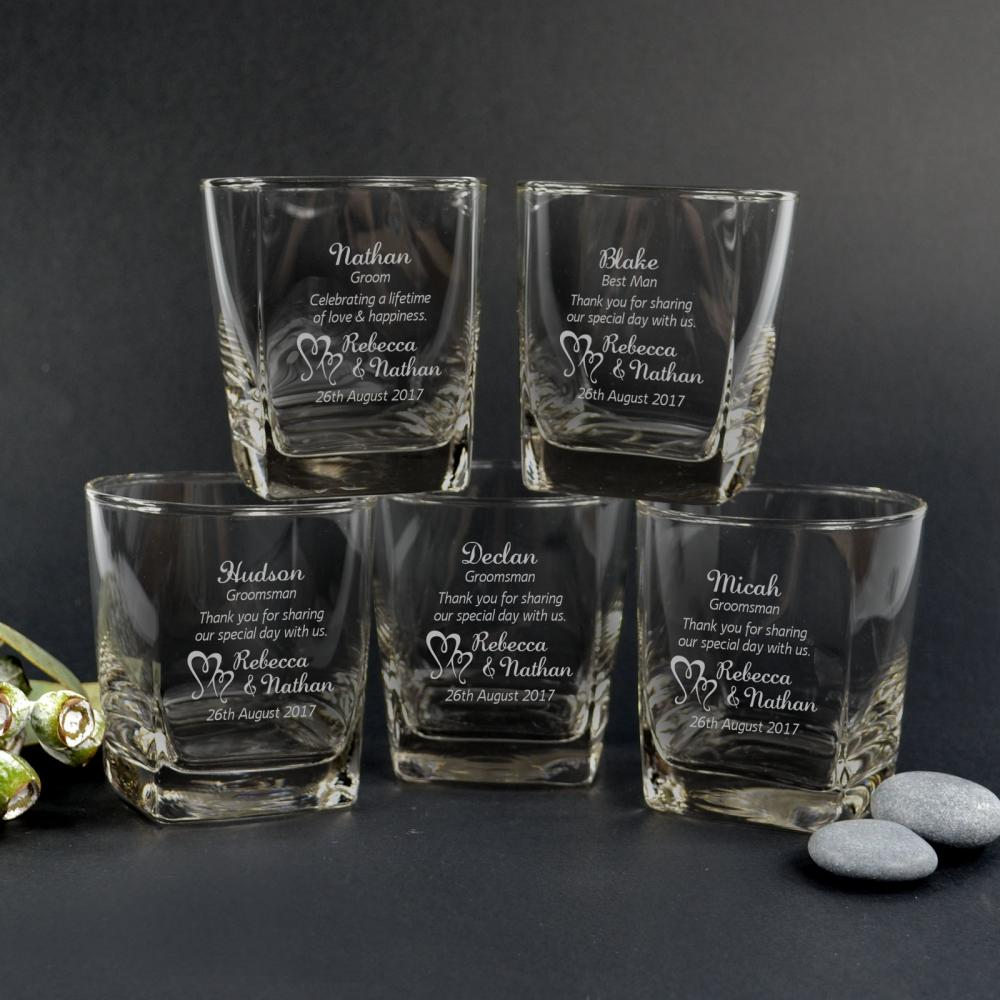 dd8f98f0584 Details about 5x Personalised Engraved Wedding Scotch Whiskey Glasses Best  Man Groomsmen Gift