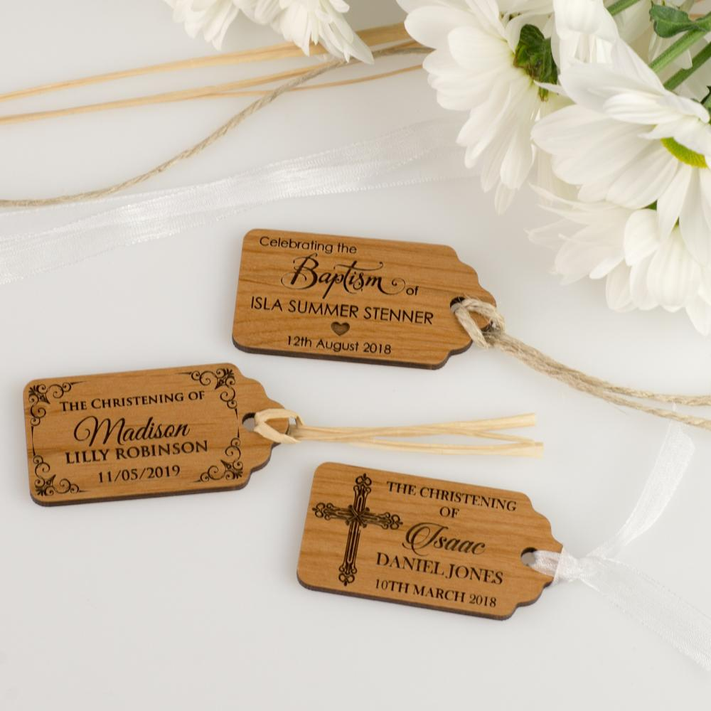 Corporate Baby Gifts Australia : Engraved wooden christening gift tags baby baptism