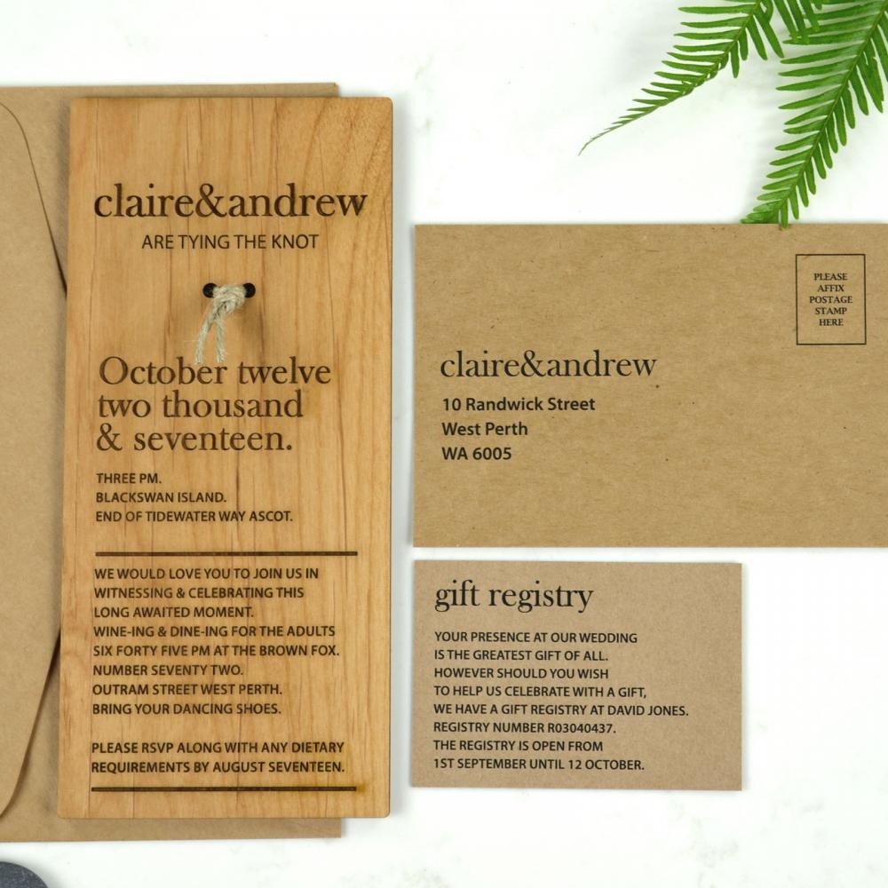 1x Sample Personalised Laser Cut Engraved Wooden Wedding Invitation