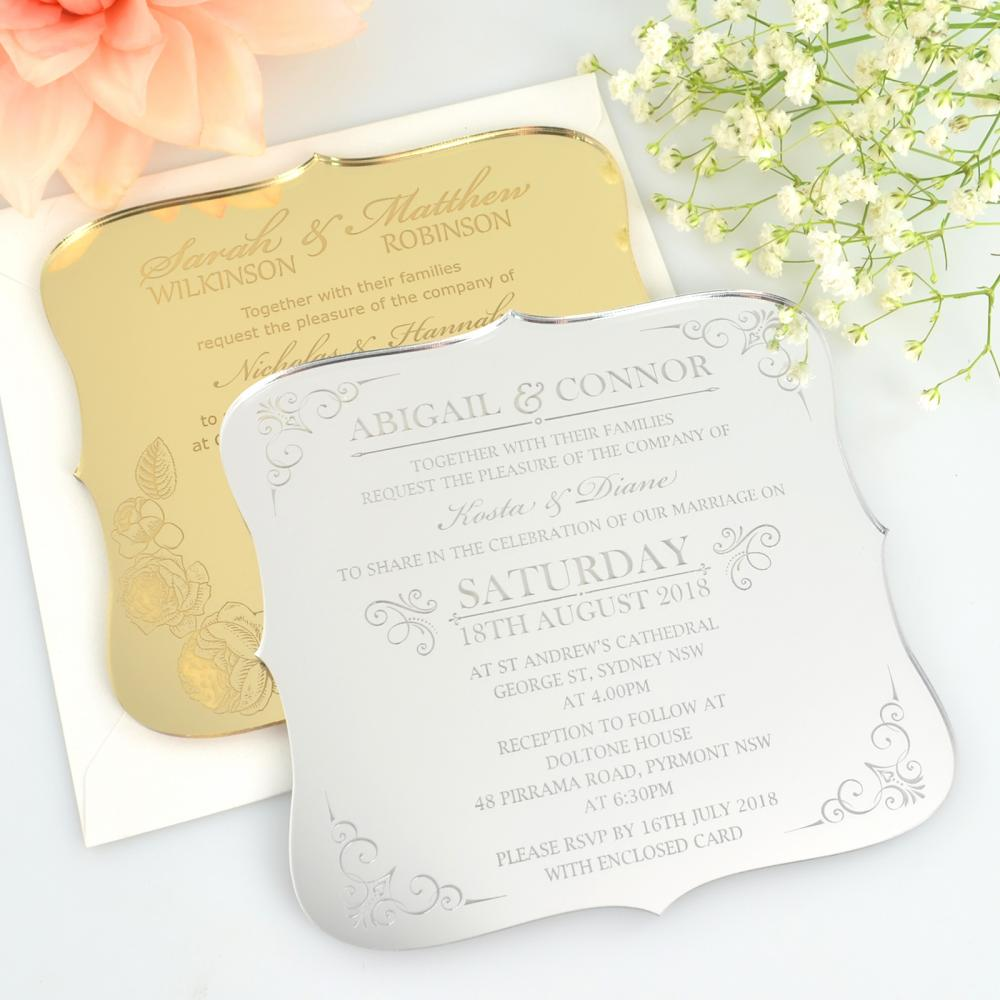 50 x Engraved Acrylic Wedding Invitations - Royal Style + Includes ...