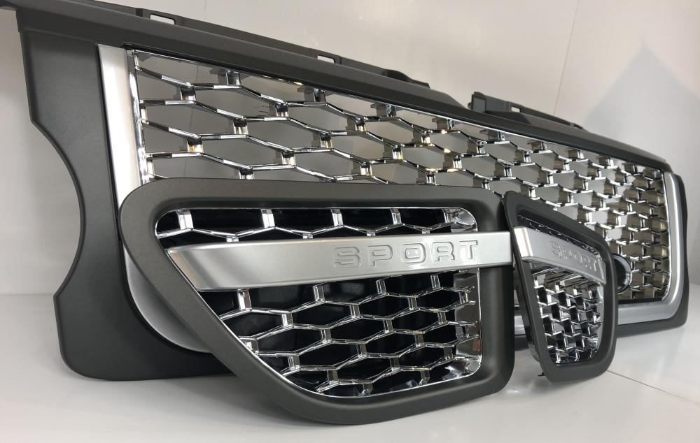 Noir Chrome Autobiography Style Side Vent Air Grilles-Range Rover L322 Design