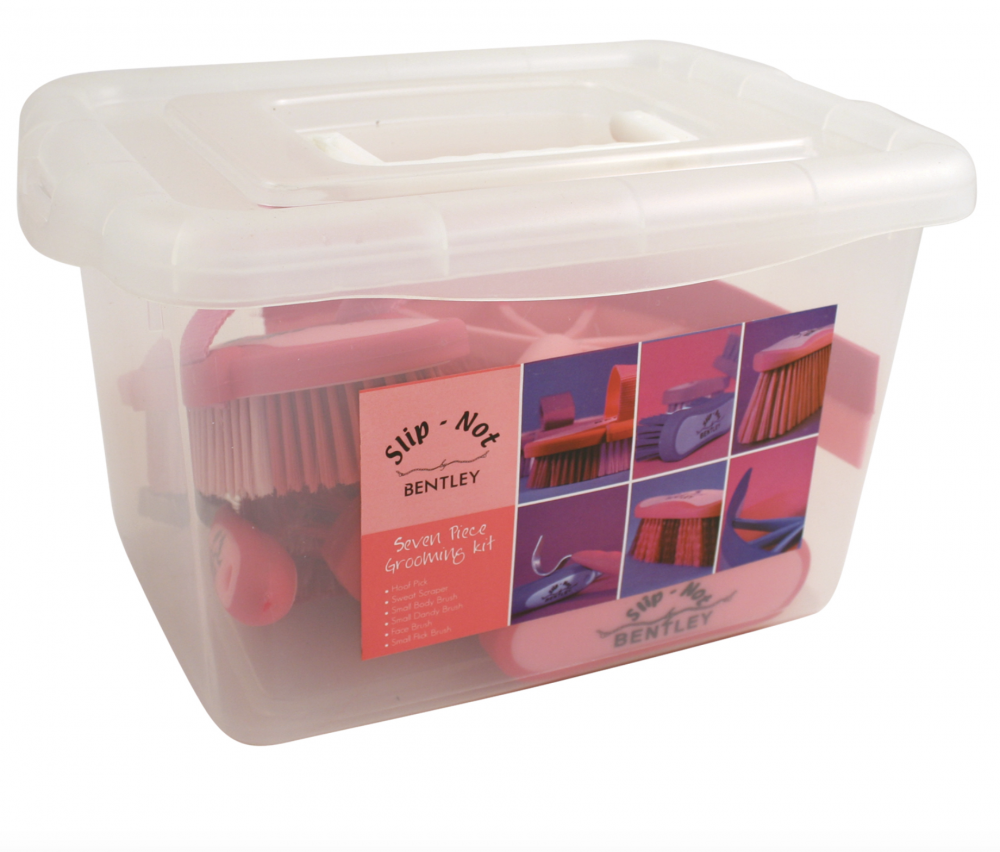 Bentley Slip Not Hoof Brush Pink At Burnhills: Horse / Pony Pink Grooming Kit With Handy Box By Bentley
