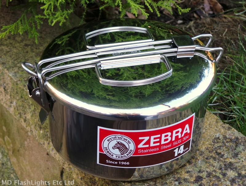 14cm Stainless Steel Zebra Billy Can Lunchbox Cooking Pot