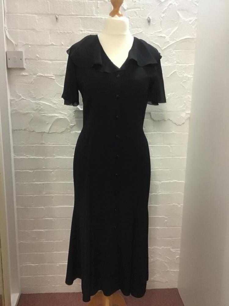 vintage ann es 90 debut noir cr pe soir e pour femmes robe. Black Bedroom Furniture Sets. Home Design Ideas