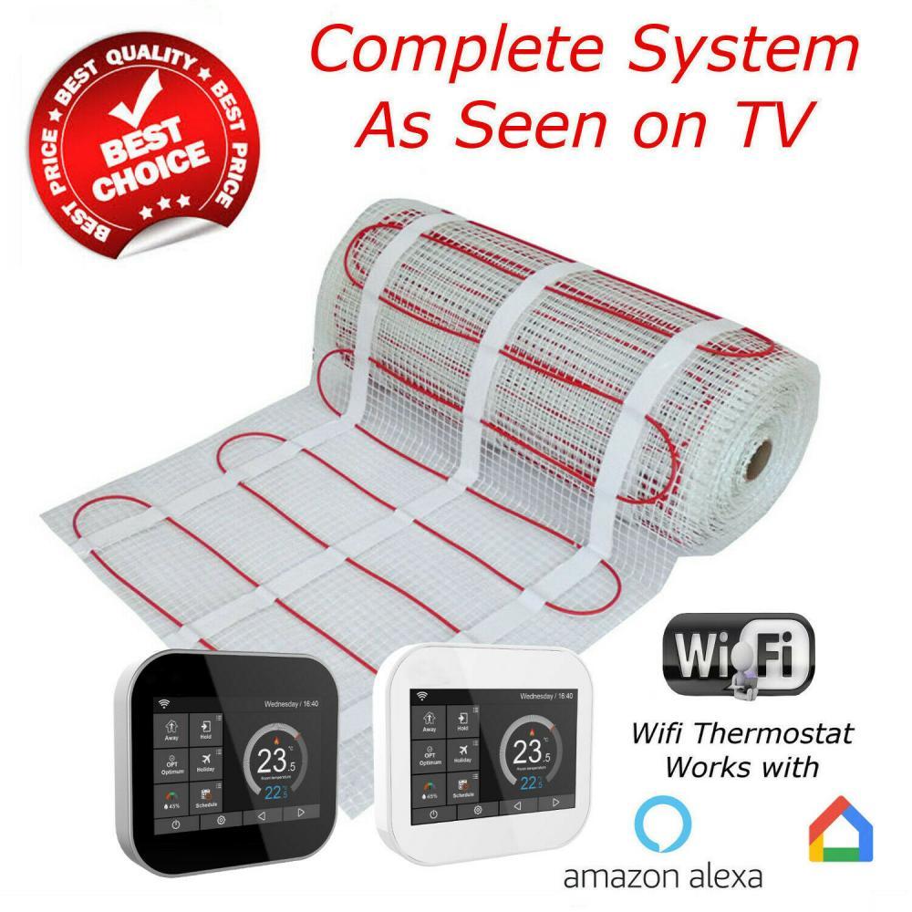 Electric Underfloor Heating kit 150w Black WiFi Thermostat 1.5m2