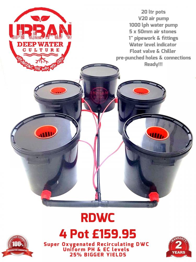 Details about 4 Pot 20L RDWC Hydroponic System *FREE REMO NUTRIENTS  SUPERCHARGED KIT INCLUDED*