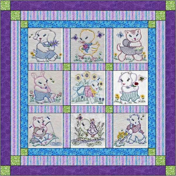 Quilt Kit Haloween Shadows Embroidery Quilt w//Finished Blocks