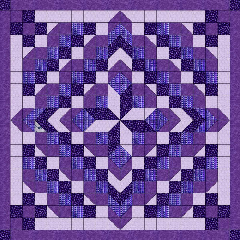 Quilt Kit Faceted Star Shades Of Purple Precut And Ready