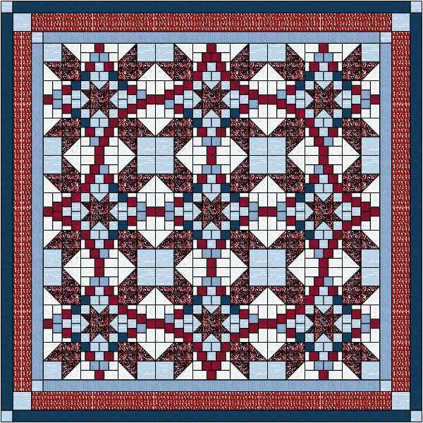 Quilt Kit Classic Barn Stars//Red Black and Gray//Precut Ready to Sew//King